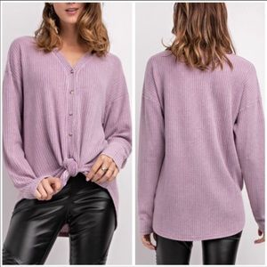 EASEL | Lilac • button down thermal top